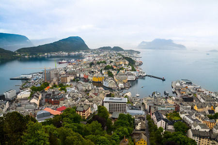 alesund: view from the mountain Aksla at the city of Alesund , Norway