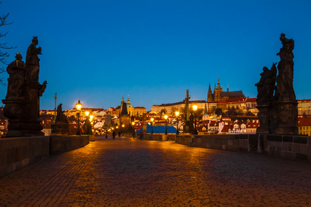 View to Prague Charles bridge in the morning photo