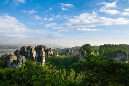 stoney point: Sandstone formations in Bohemian Paradise, Czech Republic Stock Photo