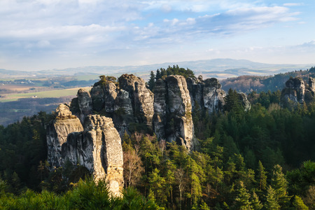 Sandstone rocks in National park Bohemian Paradise, Czech republic Stock Photo