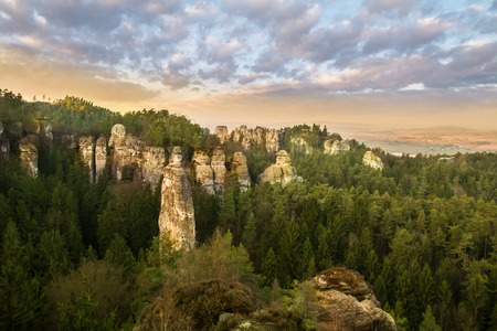 Sandstone formations in Bohemian Paradise, Czech Republic Stock Photo