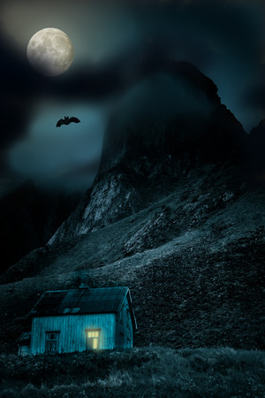 Apocalyptic scenery with rold wooden house and moon