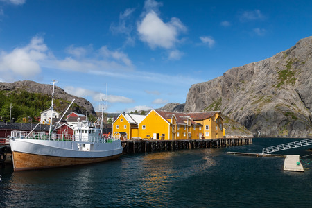 fishing cabin: Picturesque village of Nusfjord on Lofoten islands, Norway, popular tourist destination