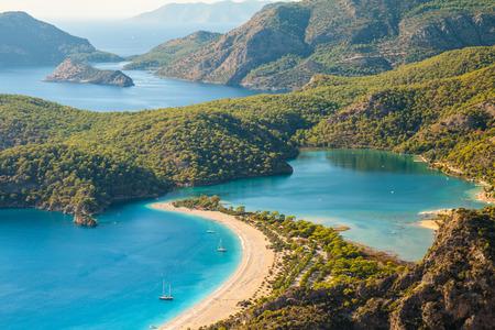 oludeniz lagune in zee landschap uitzicht op het strand, Turkije Stockfoto