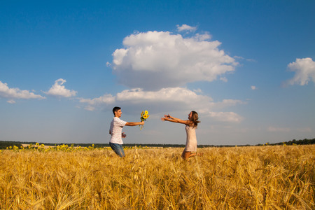 inlove: Young  inlove couple have date in a wheat field