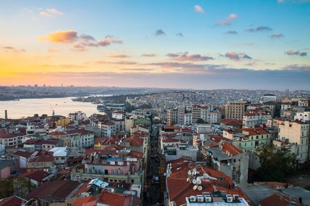 istanbul: Istanbul, sunset view from Galata tower to city district