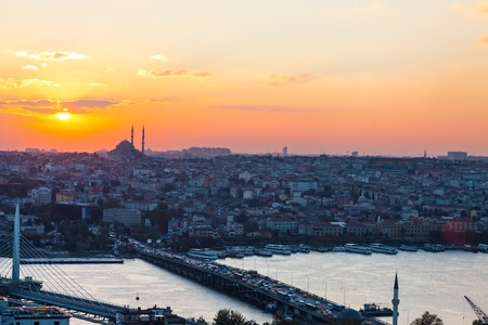 byzantium: Istanbul, sunset view from Galata tower to city district