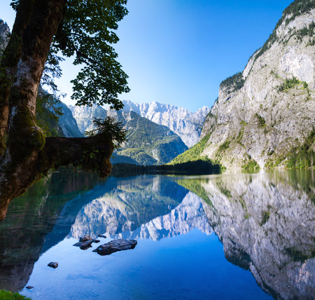 The beautiful Obersee nearby the popular Bavarian Konigssee in Germany Stock Photo