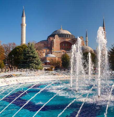 aya sofia: The Beautiful Hagia Sofia and fountain  in Istanbul.