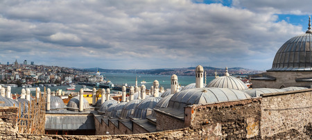 hamam: view from Suleymaniye mosque to Bosphorus,  Istanbul, Turkey Stock Photo