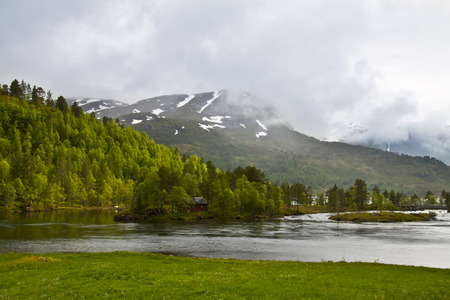 fishman: Norway scenery with pine forest, river and fishman house