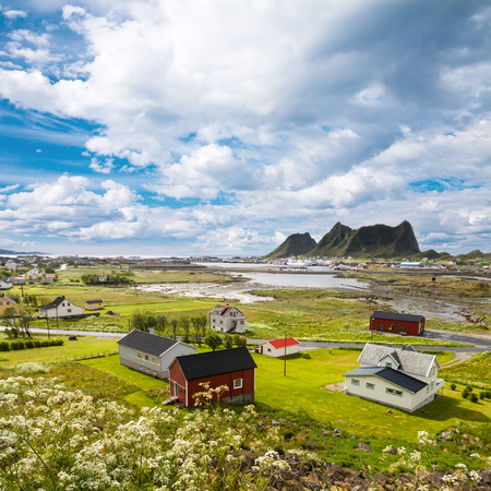 rorbuer: Summer view to Vaeroy island, Lofoten, Norway