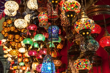 Multi-colored lamps hanging at the Grand Bazaar in Istanbul, Turkey