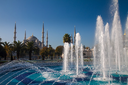 imam: Blue Mosque and  fountain landmarks of Istanbul