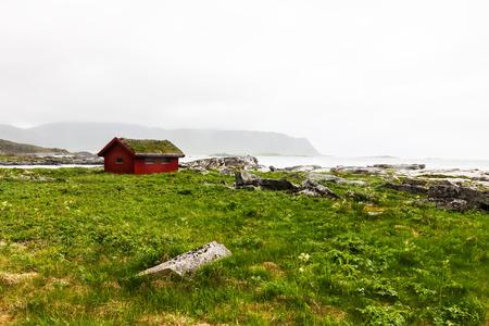 rorbu: Typical red rorbu, fishing hut in village on Lofoten islands in Norway
