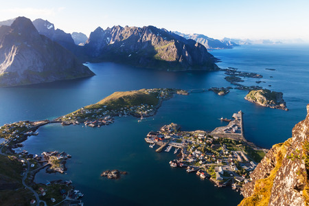 sea scenery: summer aeral view of fishing  Reine village, Lofoten island, Norway Stock Photo