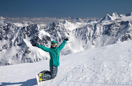 winter sport: snowboarder at snow hill in Solden, Austria, extreme winter sport