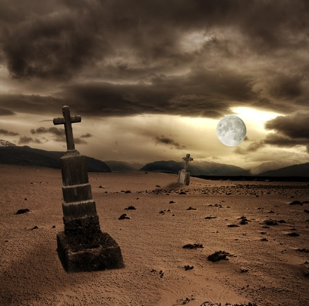 cadaver: Spooky Halloween graveyard with dark clouds and moon