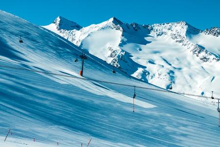 slope: Slope on the skiing resort, European Alps Stock Photo