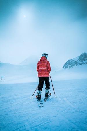 winter sport: skier on snow hill, Solden, Austria, extreme winter sport