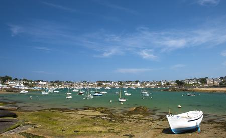 ebb: Fishing boat at ebb tide in Bretagne,  France