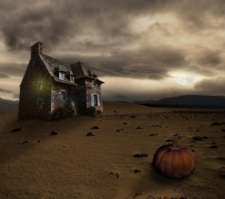 spooky house: Apocalyptic Halloween scenery with old house pumpkin Stock Photo