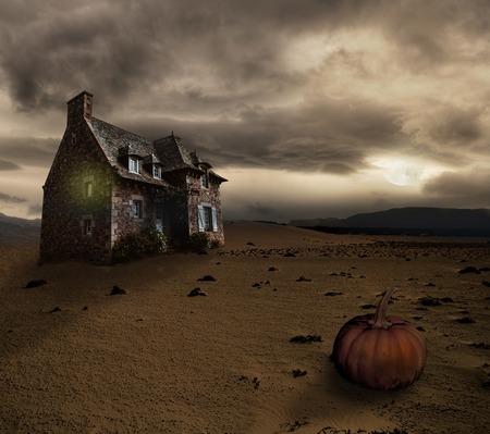 Apocalyptic Halloween scenery with old house pumpkin Stok Fotoğraf