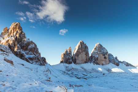 Sunrise on Drei Zinnen Lavaredo, Dolomites Alps mountains, Italy