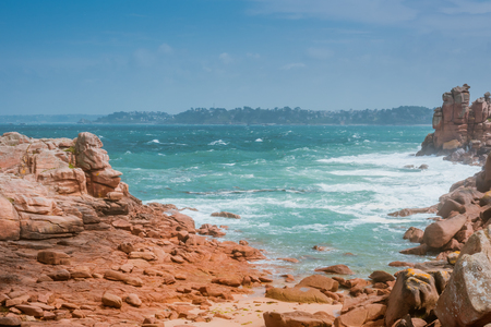bretagne: big waves crashing on rocks, Bretagne, France