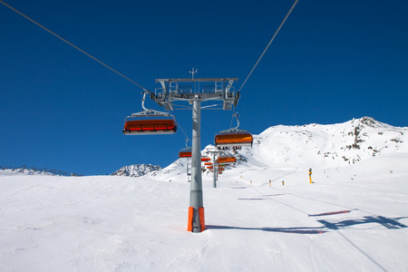slope: Slope on the skiing resort, European Alps Stock Photo