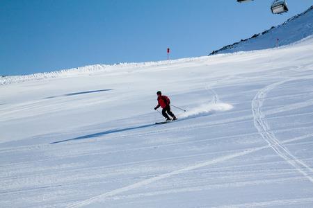 winter sport: skier on snow hill in Solden, Austria, extreme winter sport