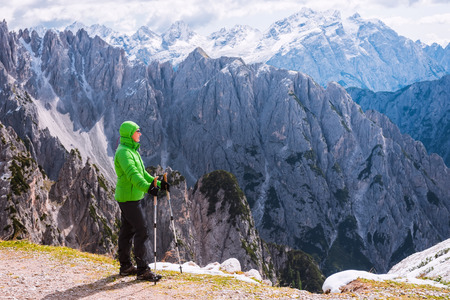 hight: Female hiker in hight mountains, Dolomites, Italy Stock Photo