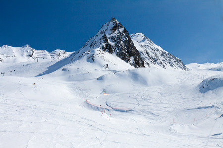 a slope: Slope on the skiing resort, European Alps Stock Photo