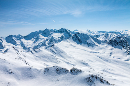 snow covered mountain: Winter snow covered mountain peaks in Austrian alps  Place for winter sports Stock Photo