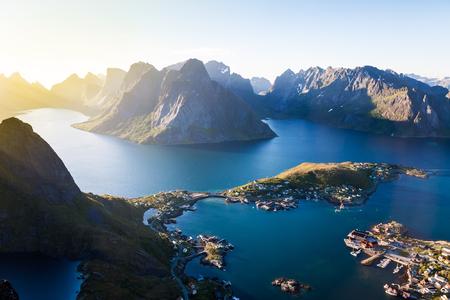 summer aeral view of fishing Reine village, Lofoten island, Norway