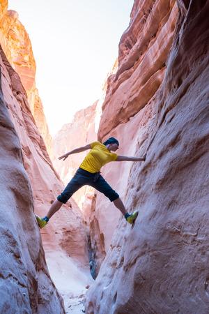 sinai: Sport girl climbing in canyon, Sinai, Egypt
