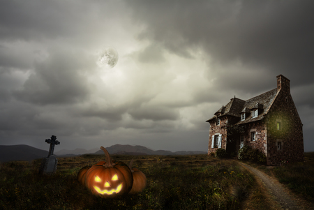 apocalyptic: Apocalyptic Halloween scenery with old house pumpkin Stock Photo