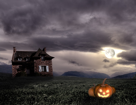 Apocalyptic Halloween scenery with old house and pumpkin