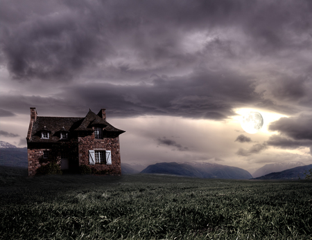 Apocalyptic Halloween scenery with old house pumpkin 写真素材