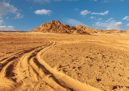 sinai desert: Egypt Sinai desert view  road, hills, blue sky Stock Photo