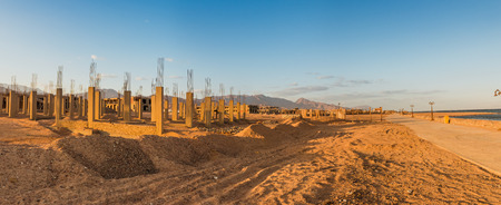 uncompleted: Uncompleted Resort Building, abandoned in Egypt, Dahab Stock Photo