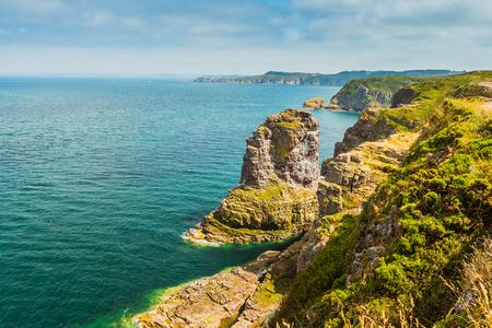 coastal summer landscape of Bretagne, Brittany, France Stock Photo