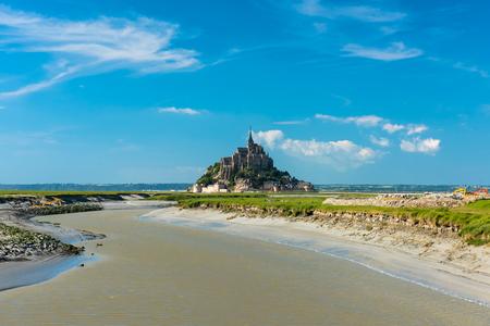 mont saint michel: Mont Saint Michel tidal island in summer, Normandy, northern France