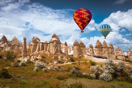adventure aeronautical: Air balloon over Love valley, Cappadocia Turkey Stock Photo