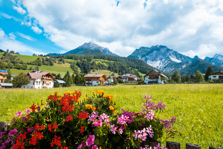 selva: summer village in Val Gardena South Tirol, Dolomiten mountains, Italy