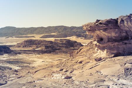 sinai: Egypt Sinai desert view Rocky hills Blue sky
