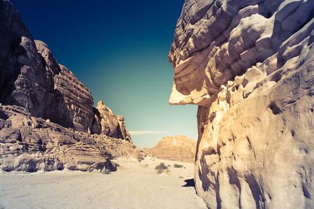 waterless: Egypt Sinai desert view Rocky hills Blue sky