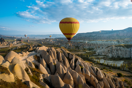 Hot air balloons flying over a field of poppies and rock landscape at Cappadocia, Turkey Imagens