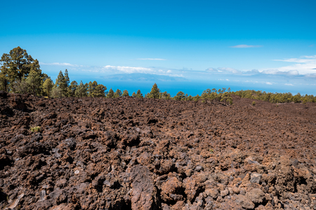 petrified lava flows of Teide volcano Roques de Garcia, Teide National park, Tenerife, Canary islands, Spain Stock Photo