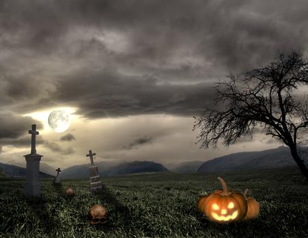 Spooky Halloween graveyard with dark clouds moon and pumpkin